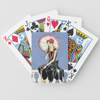 1920s Flapper with Umbrella Bicycle Playing Cards