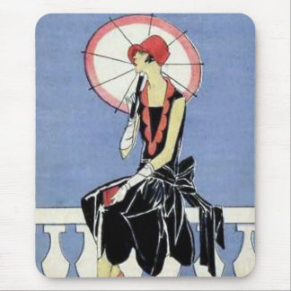 1920s Flapper with Umbrella Mouse Pad