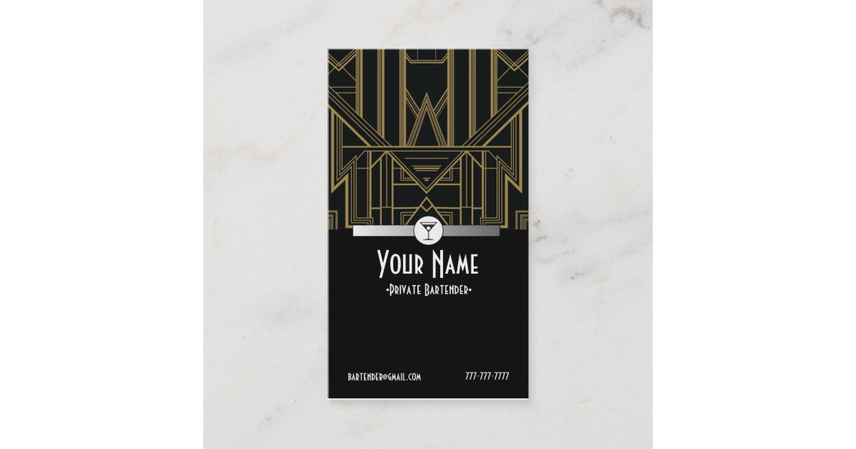 1920s Gatsby Bartender Business Card | Zazzle.com