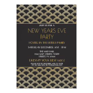 1920's Gatsby New Years Eve Invite Party Gold
