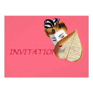 1920's Geisha Girl And Leaf Custom Invites