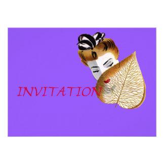 1920's Geisha Girl And Leaf Invitation