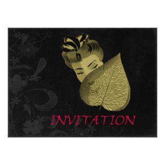 1920's Geisha Girl And Leaf Personalized Invitation