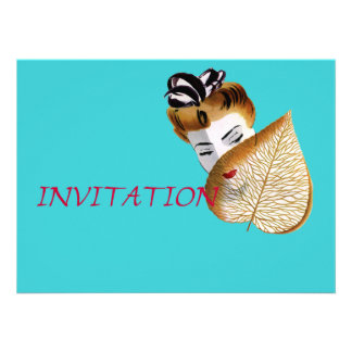 1920's Geisha Girl And Leaf Personalized Announcement