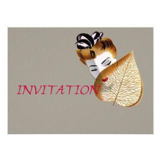 1920's Geisha Girl And Leaf Invite