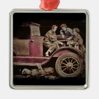 1920's Girl Auto Mechanics Metal Ornament