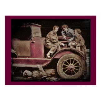 1920's Girl Auto Mechanics Postcard
