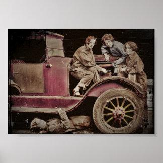1920's Girl Auto Mechanics Poster