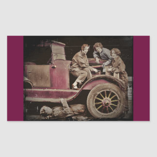 1920's Girl Auto Mechanics Rectangular Sticker