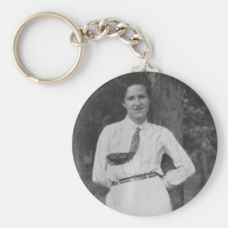1920's Girl by Tree Basic Round Button Keychain