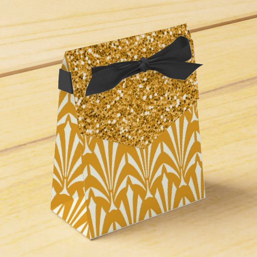 1920s Gold Glam Glitter Wedding Favor Gift Boxes Zazzle