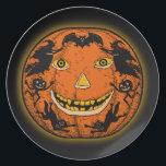 "1920s Halloween Jack O&#39;Lantern Plate<br><div class=""desc"">Fantastic 1920s Design Halloween Jack O&#39;Lantern Plate</div>"