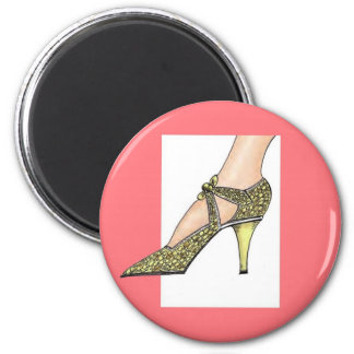 1920s High Heeled Shoe 2 Inch Round Magnet