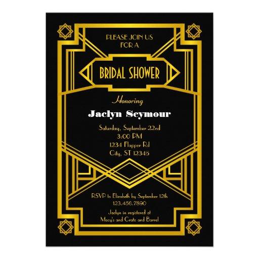 1920s Hollywood Style Bridal Shower Invitation