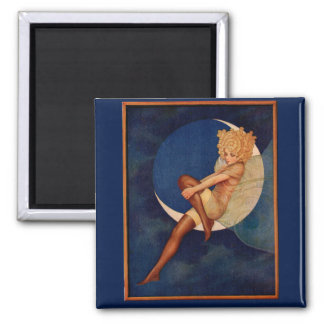 1920s hosiery ad beautiful woman on the moon 2 inch square magnet