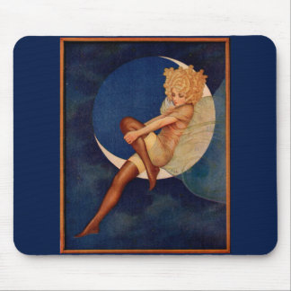 1920s hosiery ad beautiful woman on the moon mouse pad