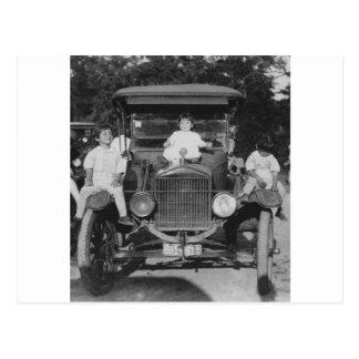 1920's Kids on Car Postcard