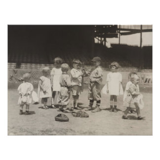 1920's Kids Playing Baseball on Major League Field Poster