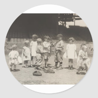 1920's Kids Playing on League Baseball Field Classic Round Sticker
