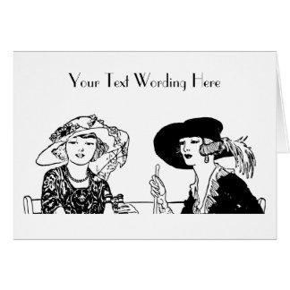 1920's Ladies Chapeau Fashion Hats Retro Dresses Greeting Card
