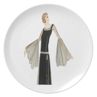 1920's Ladies Fashion Illustration Dinner Plate