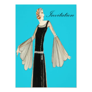 1920's Ladies Fashion Illustration Personalized Announcements