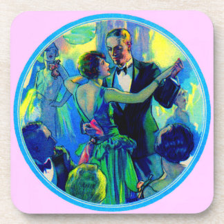 1920s lady and gentleman on the dance floor coaster