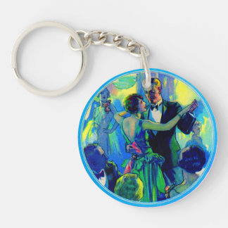 1920s lady and gentleman on the dance floor Double-Sided round acrylic keychain