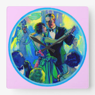 1920s lady and gentleman on the dance floor square wall clock