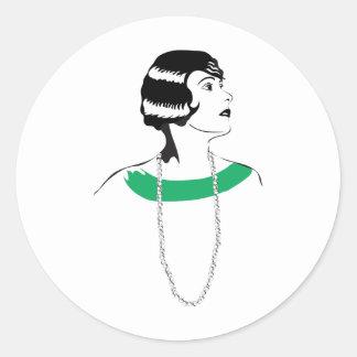 1920's Lady Classic Round Sticker