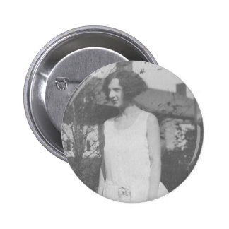 1920's Lady in White Dress Pinback Button