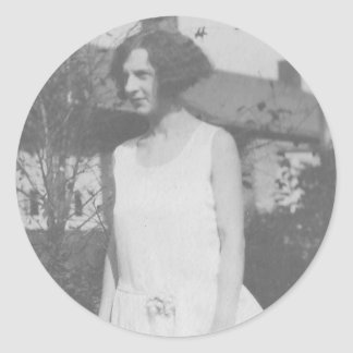 1920's Lady in White Dress Classic Round Sticker