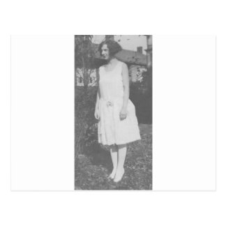 1920's Lady in White Dress Postcard