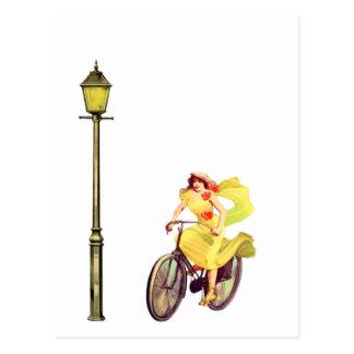1920's Lady Riding Bike Postcard