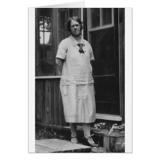 1920's Lady standing outside of building Greeting Card