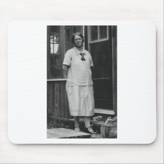 1920's Lady standing outside of building Mouse Pad