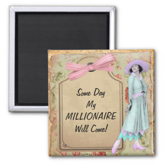 1920's Lady Waiting For Millionaire 2 Inch Square Magnet
