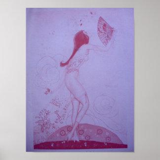 1920s Lady with Fan Art Nouveau Poster
