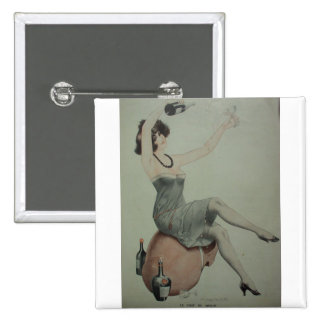 1920s Leggy Flapper Champagne Girl Button