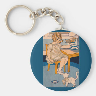 1920s little girl and her little white cat basic round button keychain