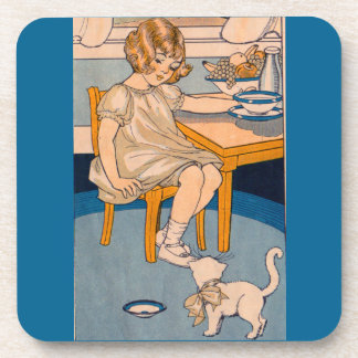 1920s little girl and her little white cat beverage coaster