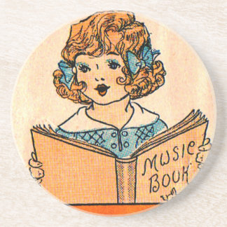 1920s little girl with music book beverage coaster