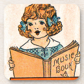 1920s little girl with music book coaster