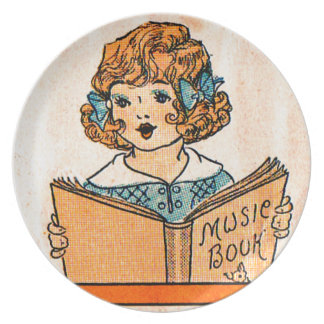1920s little girl with music book melamine plate