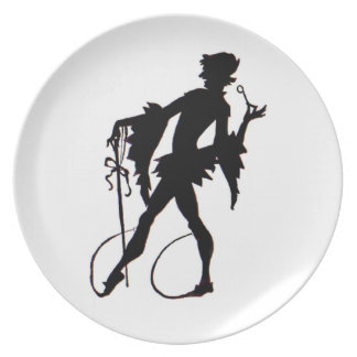 1920s magician silhouette dinner plate