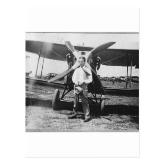 1920's Man with Airplane Postcard