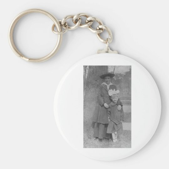 1920's Mother and Daughter by Tree Keychain