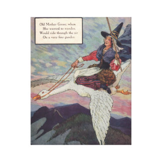 1920s Mother Goose riding her giant goose Canvas Print