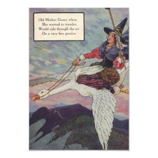 1920s Mother Goose riding her giant goose Card