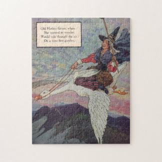 1920s Mother Goose riding her giant goose Jigsaw Puzzle